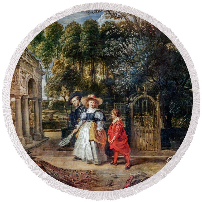 Rubens Round Beach Towel featuring the painting Rubens In His Garden With Helena Fourment by Viktor Birkus