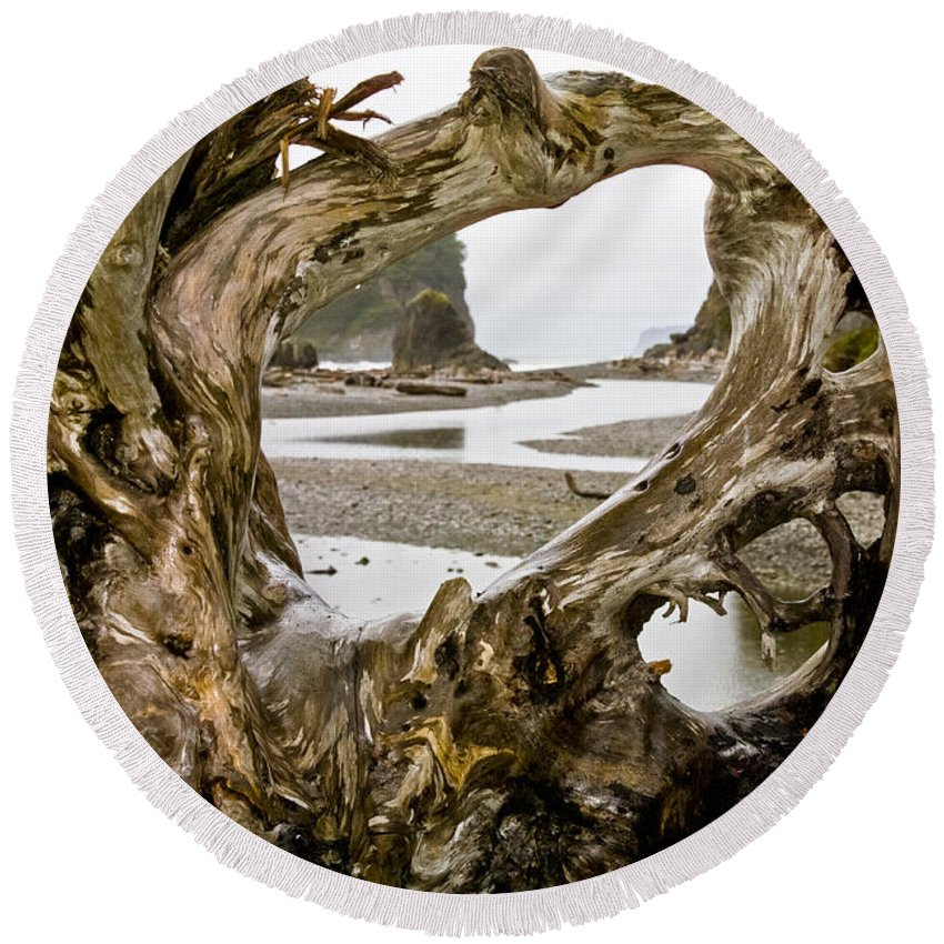 Ruby Beach Driftwood Iii Round Beach Towel featuring the photograph Ruby Beach Driftwood #3 by Greg Reed
