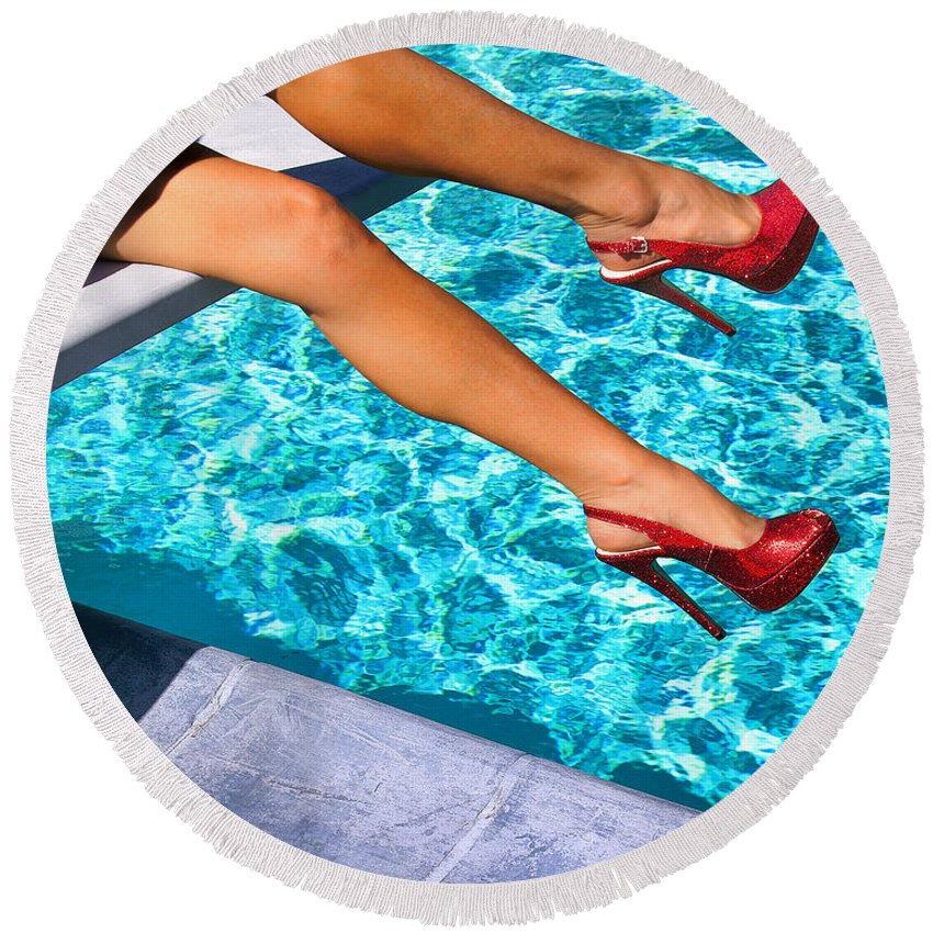 Featured Round Beach Towel featuring the photograph Ruby Heels Not In Kansas Palm Springs by William Dey