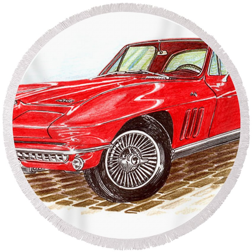 Red 1966 Corvette Stingray Fastback Round Beach Towel featuring the drawing Ruby Red 1966 Corvette Stingray Fastback by Jack Pumphrey