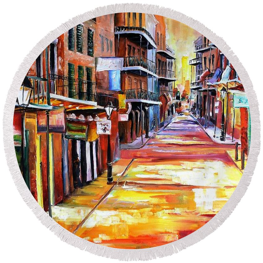 New Orleans Round Beach Towel featuring the painting Rue Bourbon by Diane Millsap
