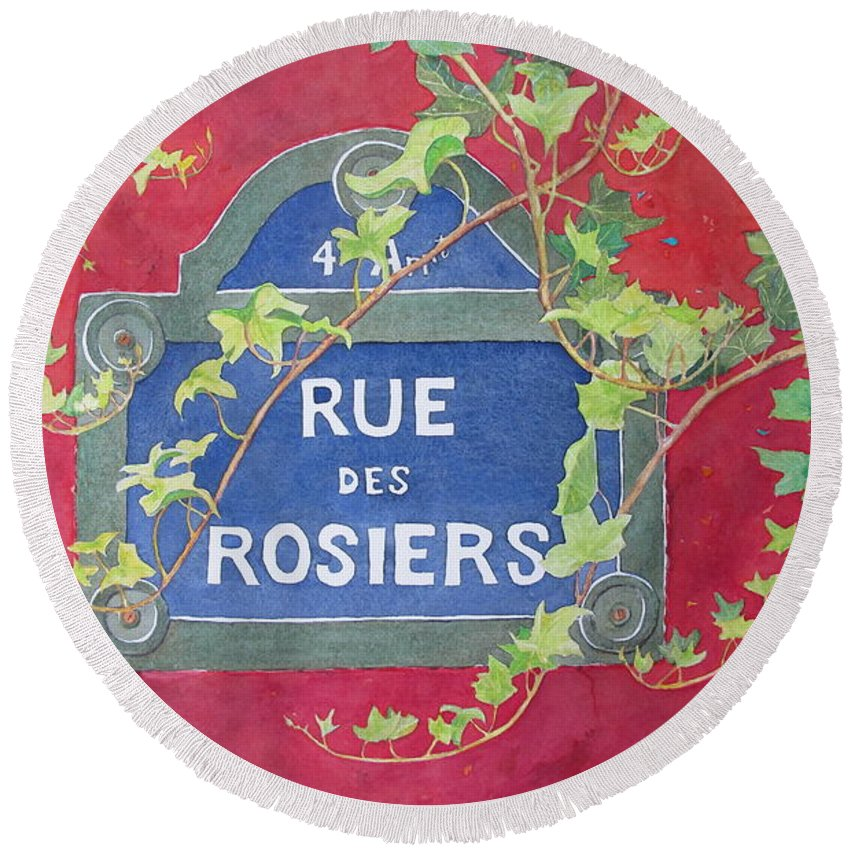 Red Wall Round Beach Towel featuring the painting Rue Des Rosiers In Paris by Mary Ellen Mueller Legault