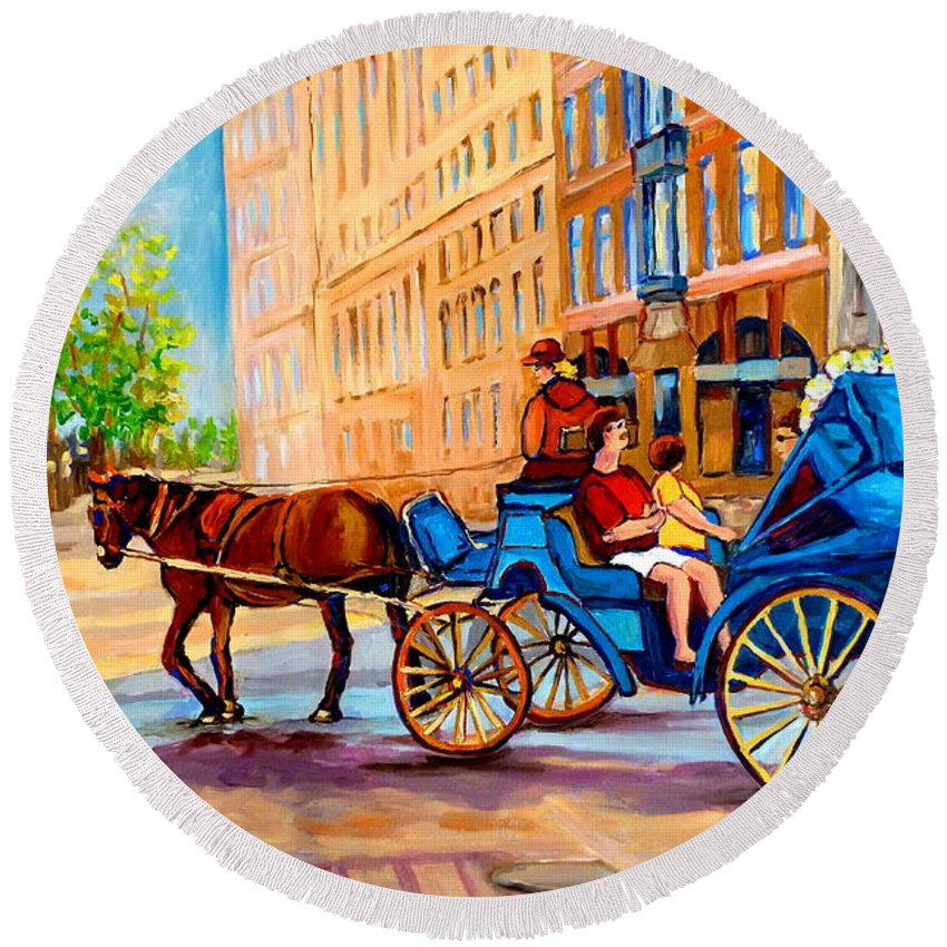 Rue Notre Dame Round Beach Towel featuring the painting Rue Notre Dame Caleche Ride by Carole Spandau