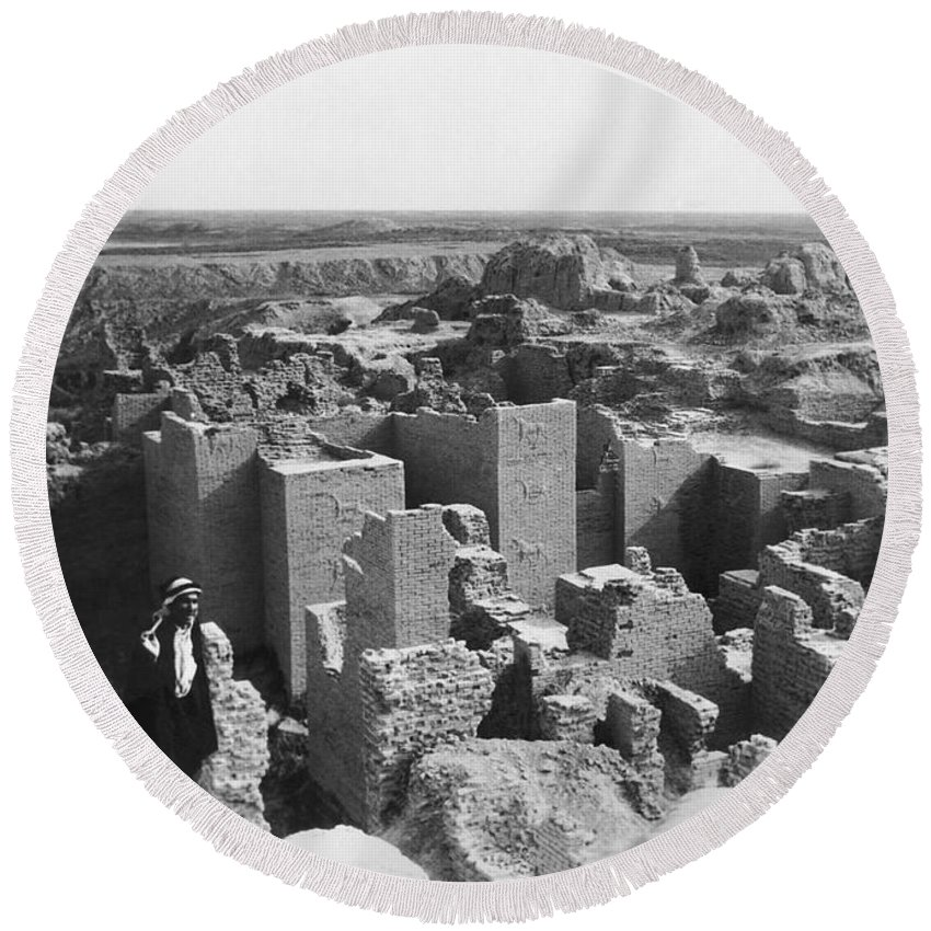 1932 Round Beach Towel featuring the photograph Ruins Of Babylon by Underwood Archives