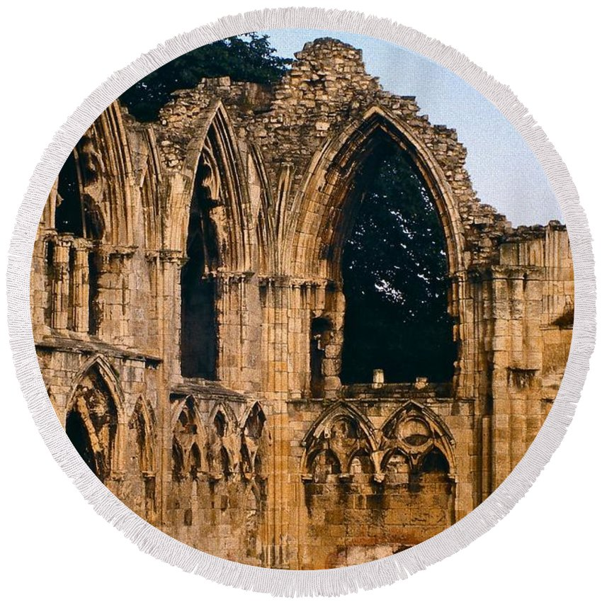 England Round Beach Towel featuring the photograph Ruins Of St. Mary's Abbey by Stuart Litoff