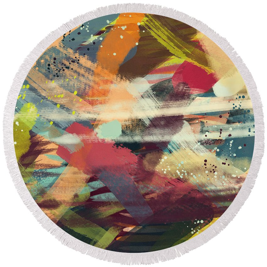 Abstract Round Beach Towel featuring the painting Rumble by Donna Cregar
