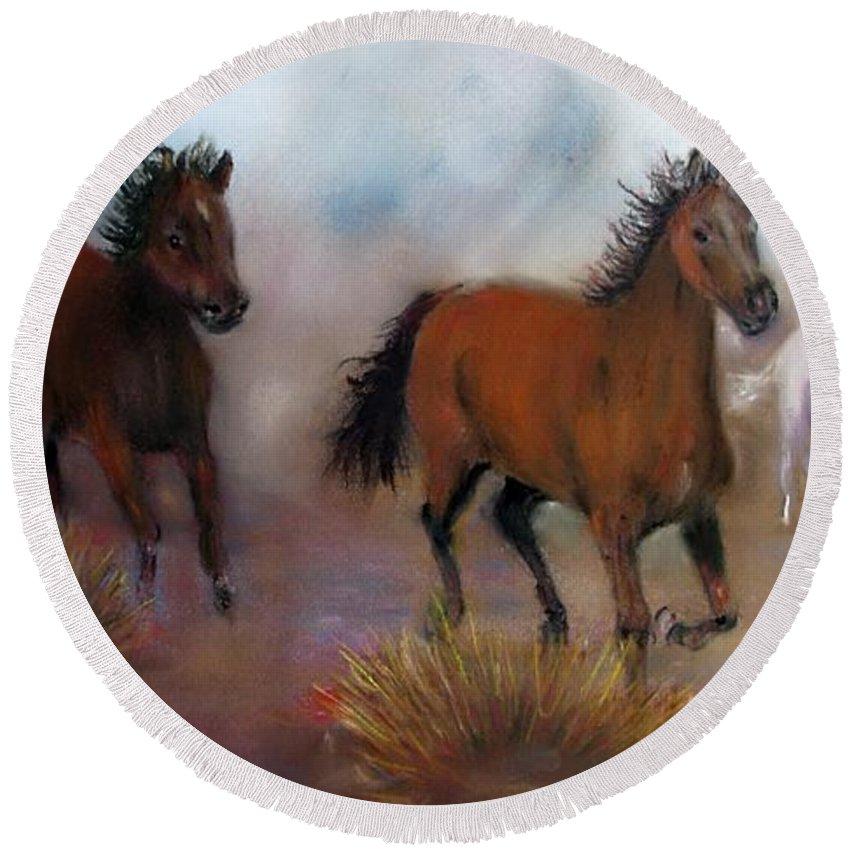 Horses Round Beach Towel featuring the painting Run Wild Run Free by Loretta Luglio