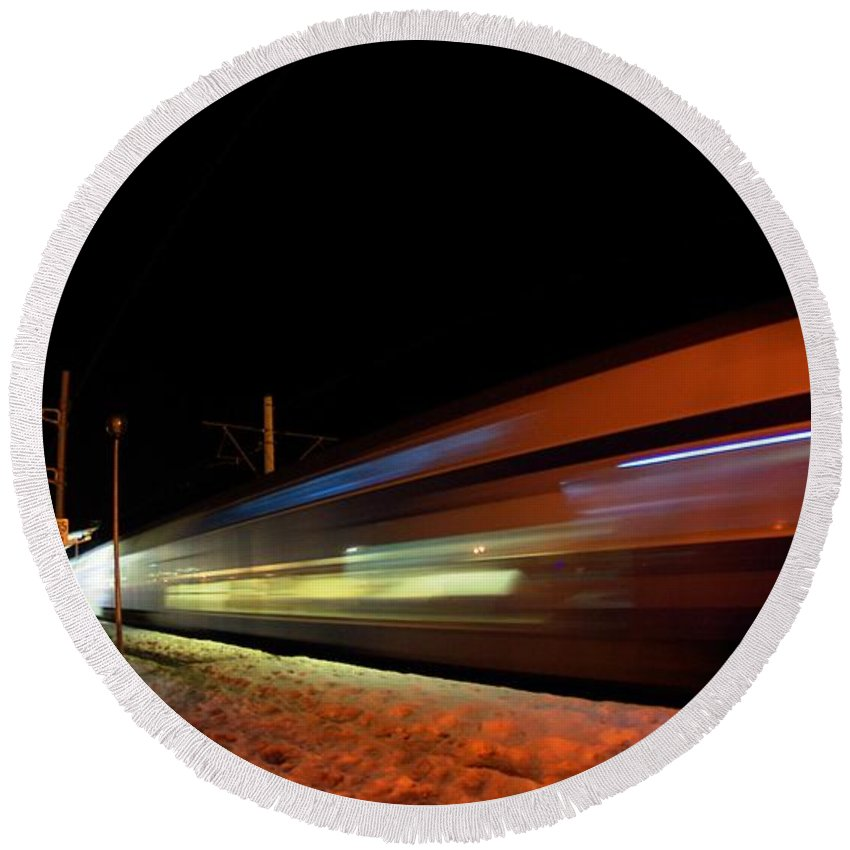 Train Round Beach Towel featuring the photograph Runaway Train by Amalia Suruceanu