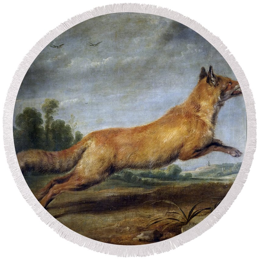 Paul De Vos Round Beach Towel featuring the painting Running Fox by Paul de Vos