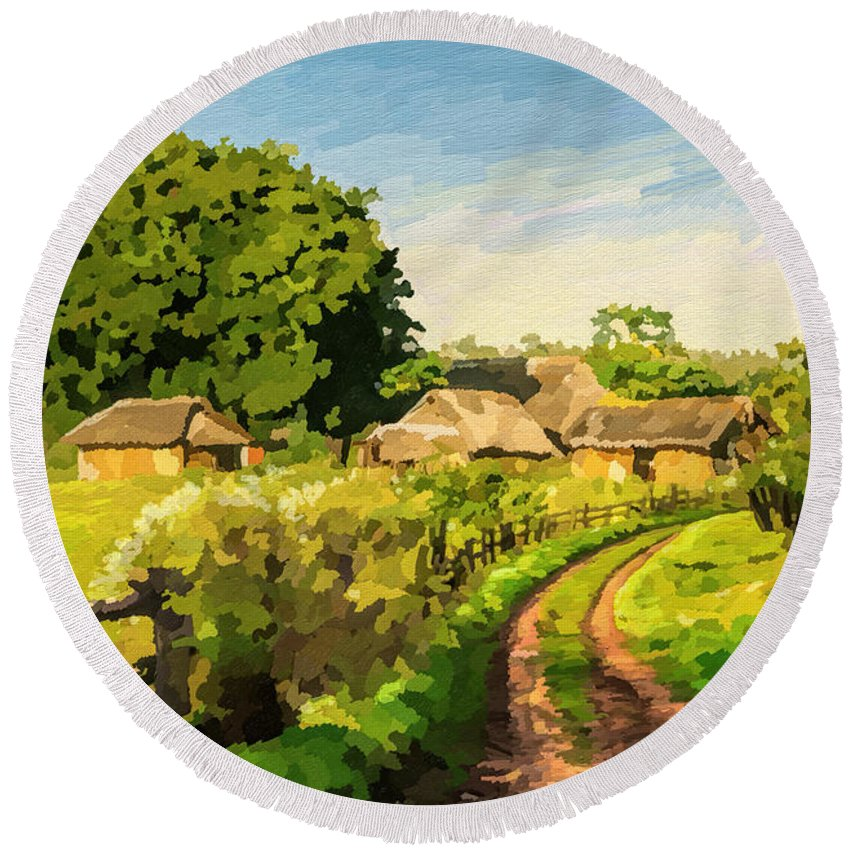 Countryside Round Beach Towel featuring the painting Rural Home by Anthony Mwangi