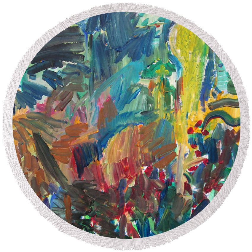Landscape Round Beach Towel featuring the painting Rural Landscape by Fabrizio Cassetta
