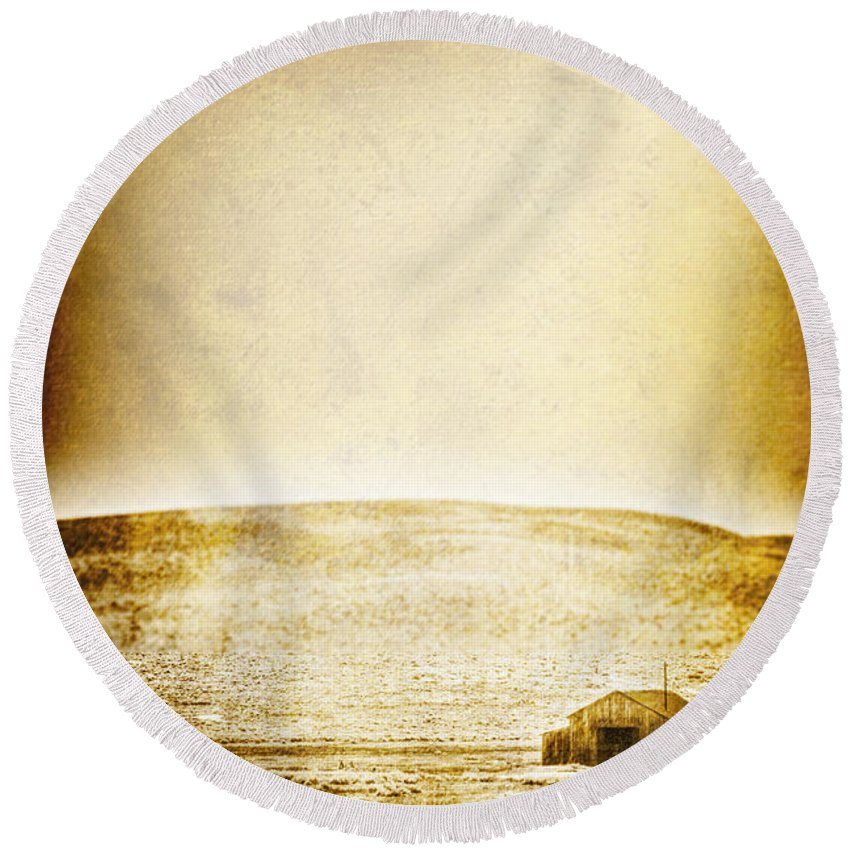 Barn; Shed; Wood; Wooden; Country; Countryside; Desert; Deserted; Worn; Abandoned; Boards; Ruins; Grasses; Hills; House; Home; Small; Sky; Antique; Vintage Round Beach Towel featuring the photograph Rural by Margie Hurwich