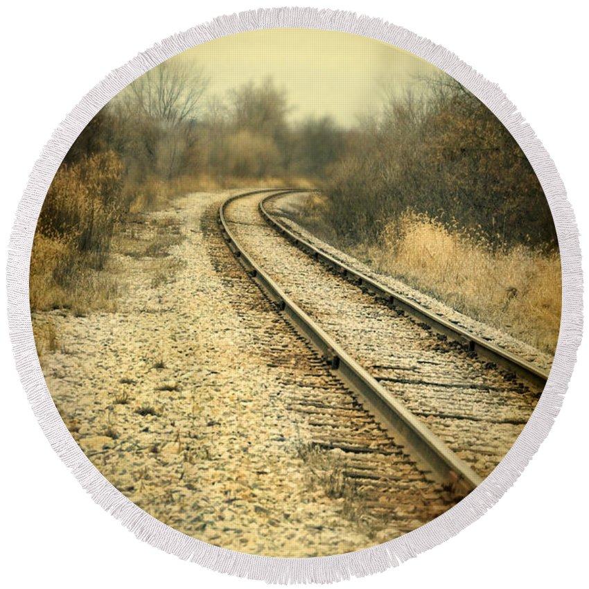 Train Round Beach Towel featuring the photograph Rural Railroad Tracks by Jill Battaglia
