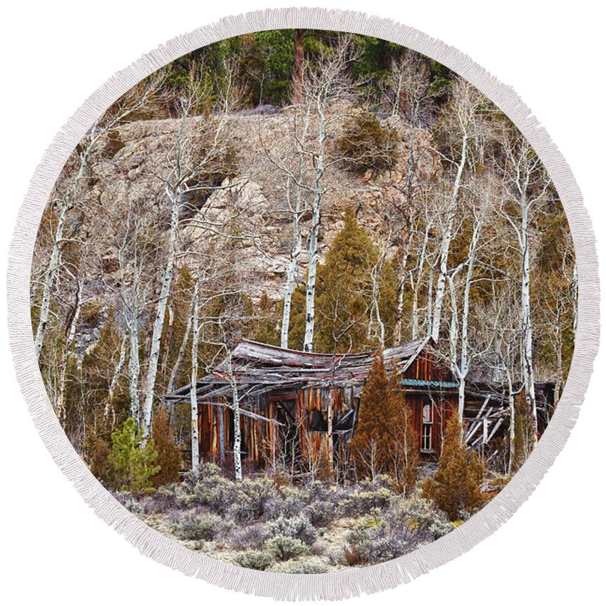 Cabin Round Beach Towel featuring the photograph Rural Rustic Rundown Rocky Mountain Cabin by James BO Insogna