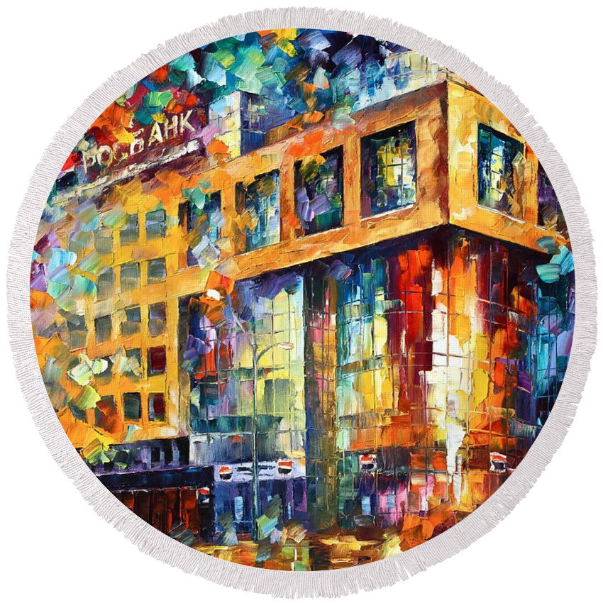 Afremov Round Beach Towel featuring the painting Rusbank Moscow by Leonid Afremov