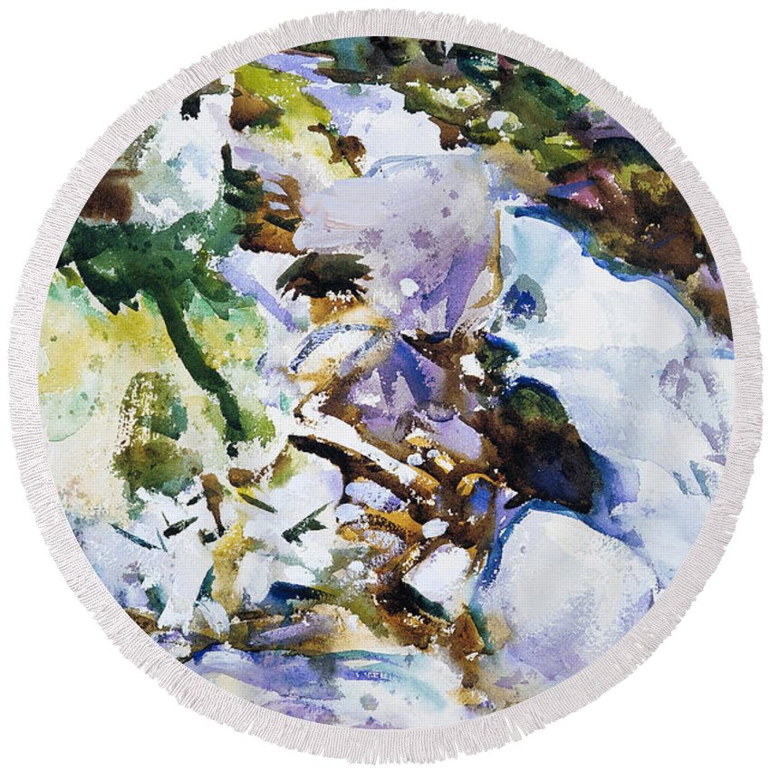 John Singer Sargent Round Beach Towel featuring the painting Rushing Brook by John Singer Sargent