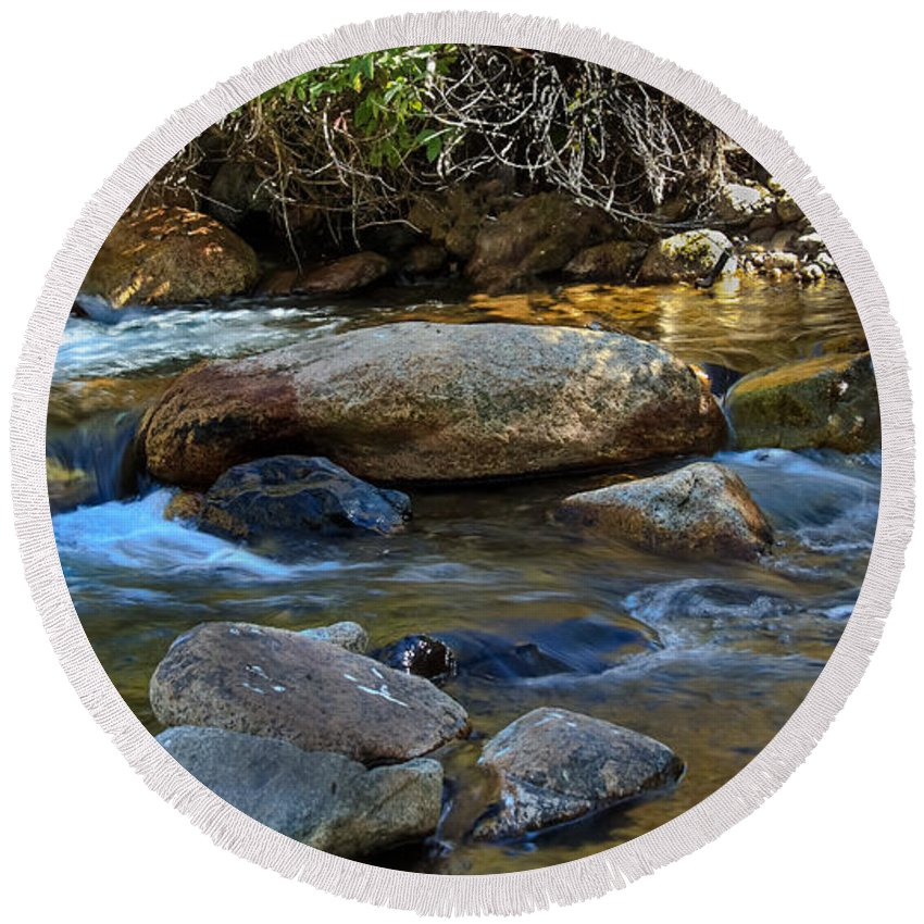 Stream Round Beach Towel featuring the photograph Rushing Mountain Stream by Robert Bales