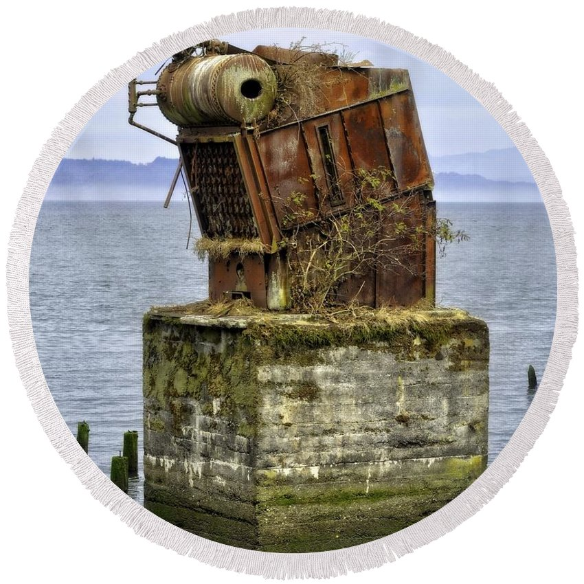 Astoria Round Beach Towel featuring the photograph Rusted Equipment by Image Takers Photography LLC - Carol Haddon