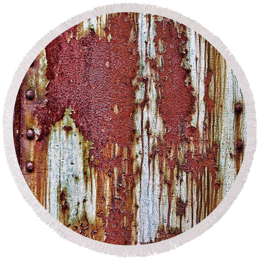 Transportation Round Beach Towel featuring the photograph Rusted by Marcia Colelli