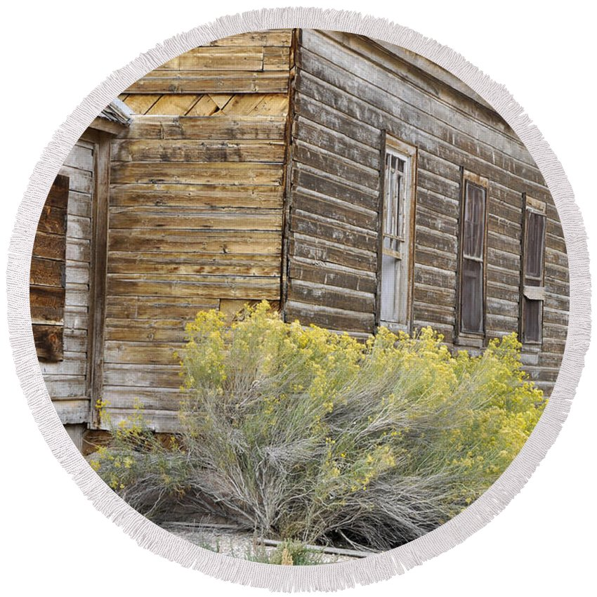 Canvas Prints Round Beach Towel featuring the photograph Rustic Building by Wendy Elliott