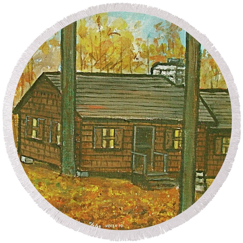 Brown Trees Cabin Fall Colors Round Beach Towel featuring the painting Rustic Cabin At Lake Hope Ohio by Frank Hunter