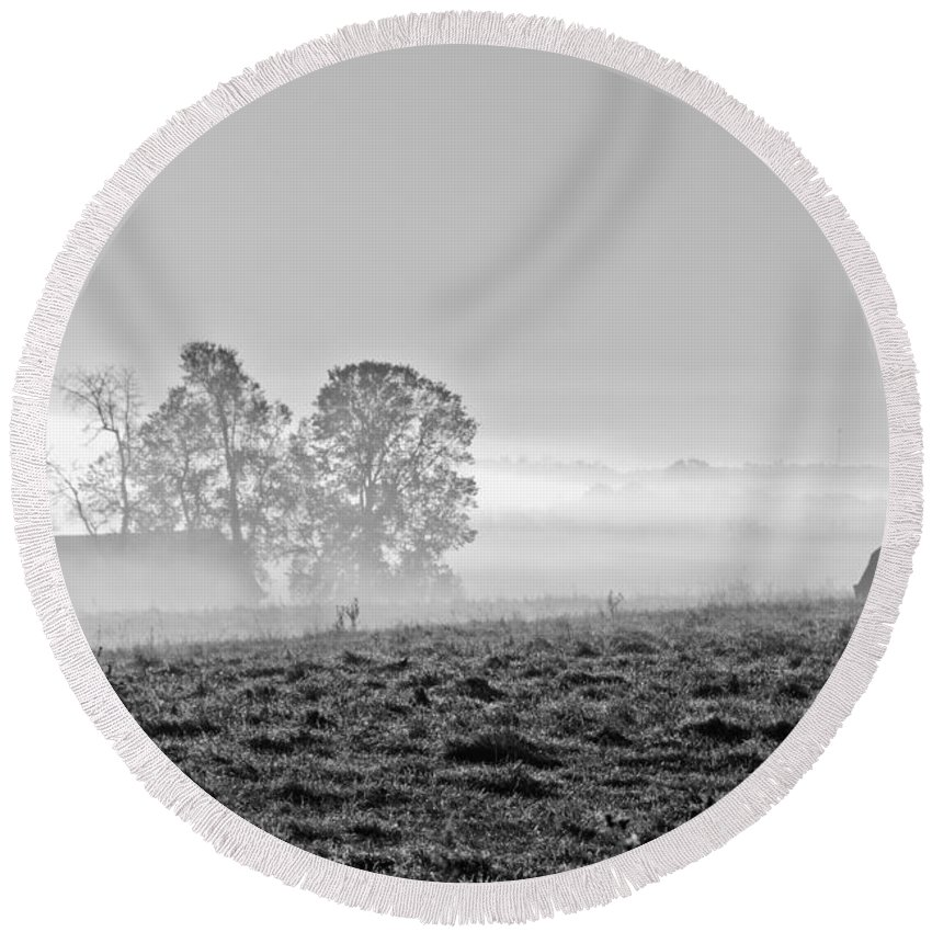 Round Beach Towel featuring the photograph Rustic Morning In Black And White by Cheryl Baxter