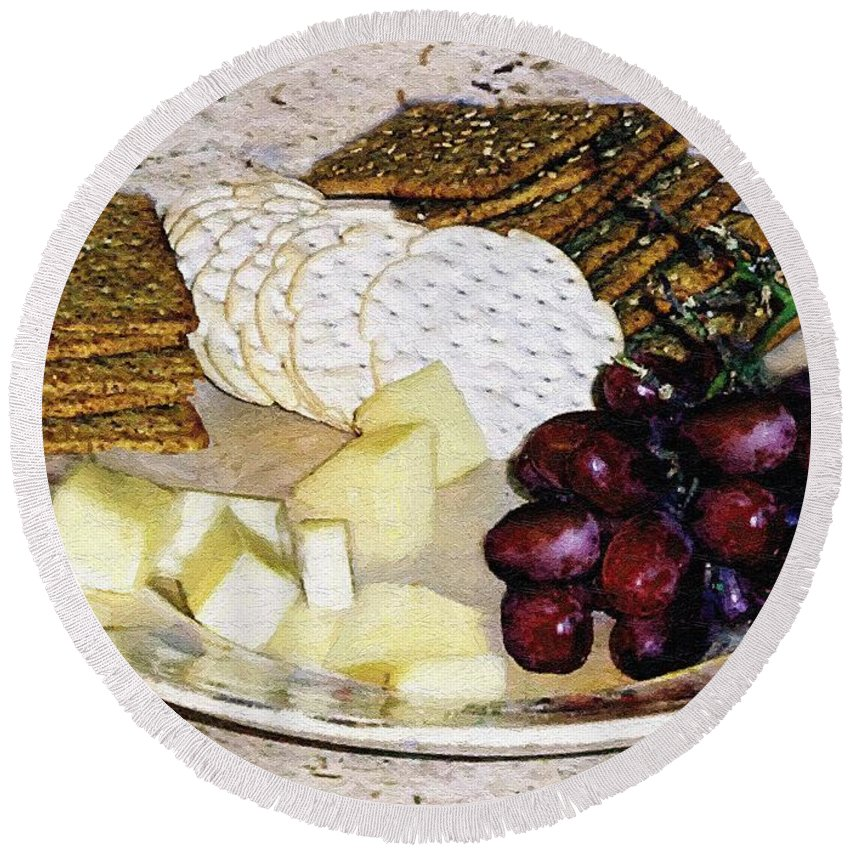 Cheese Round Beach Towel featuring the painting Rustic Repast by RC DeWinter