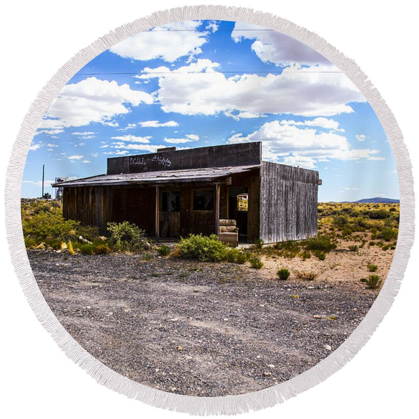 Route 66 Round Beach Towel featuring the photograph Rustic Store by Angus Hooper Iii