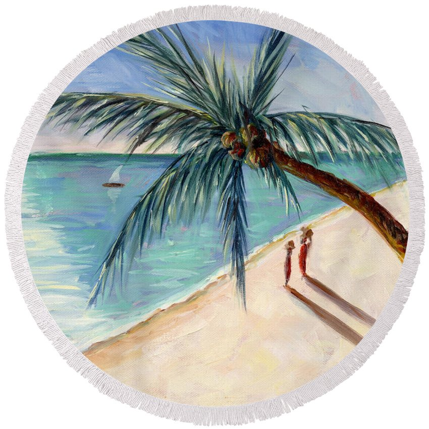 Rustling Palm Round Beach Towel featuring the painting Rustling Palm by Tilly Willis