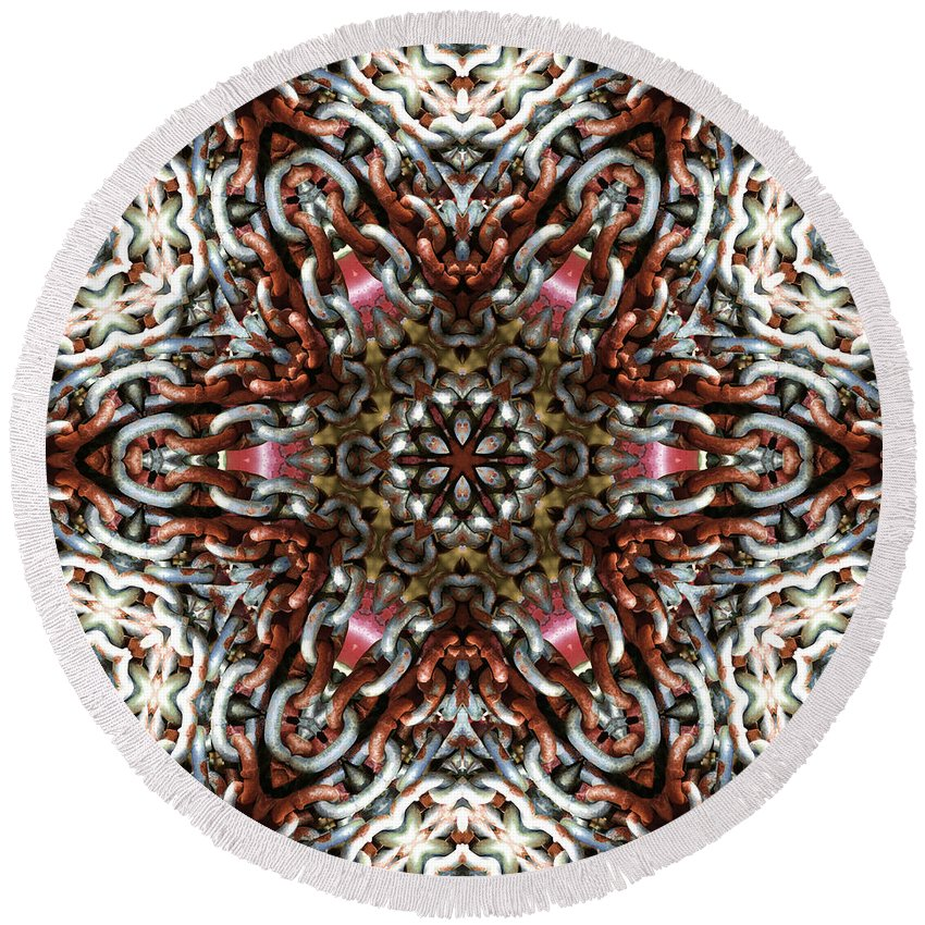 Kaleidoscope Round Beach Towel featuring the photograph Rusty Chain Link Kaleido by Kathy Clark