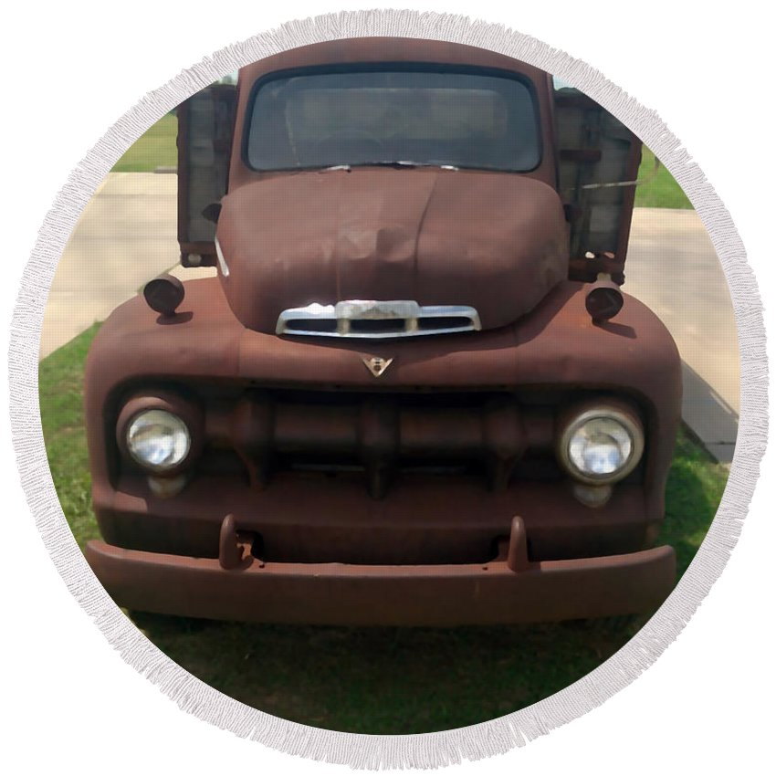 Rust Round Beach Towel featuring the photograph Rusty Ford Truck by Glenn Aker