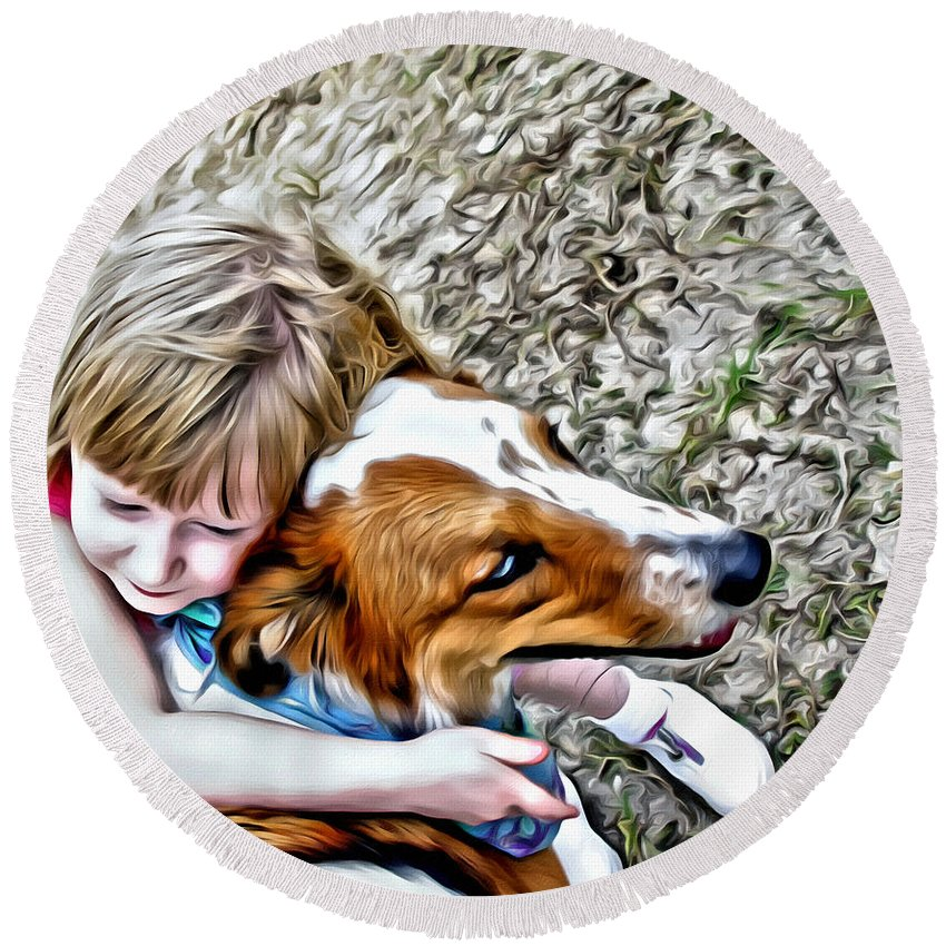 Dog Girl Hug Collie Round Beach Towel featuring the photograph Rusty Dog Love by Alice Gipson