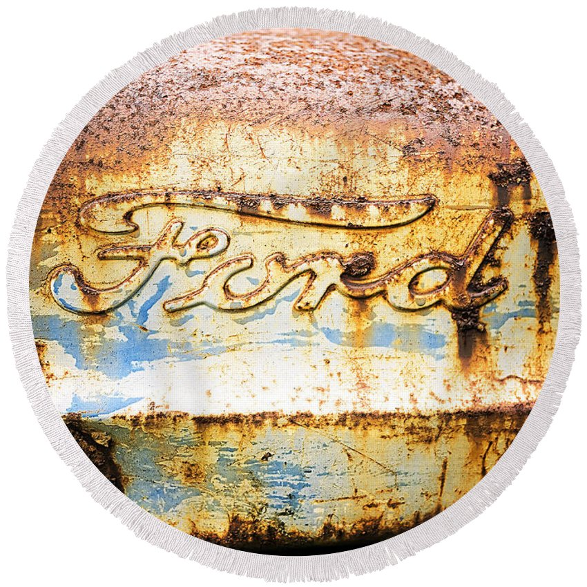 Ford Round Beach Towel featuring the photograph Rusty Old Ford Closeup by Edward Fielding