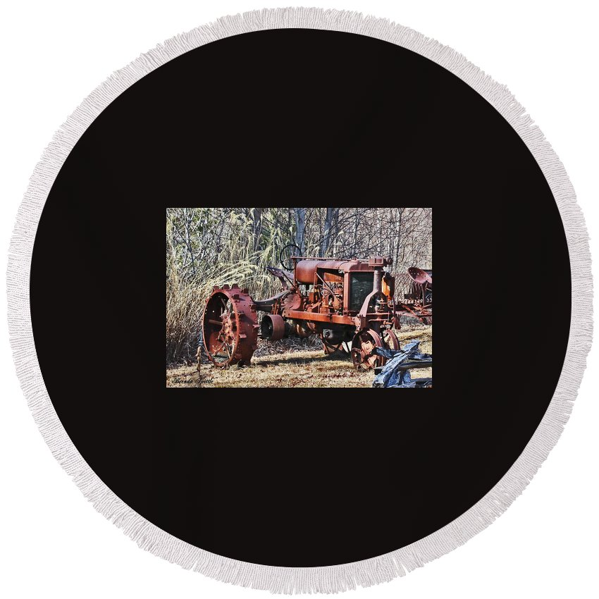 Tractor Round Beach Towel featuring the photograph Rusty Old Tractor by Brenda Spittle