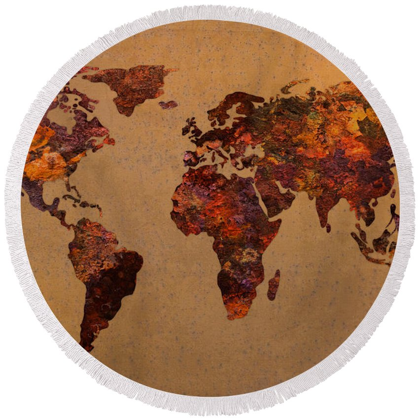 rusty vintage world map on old metal sheet wall round beach towel