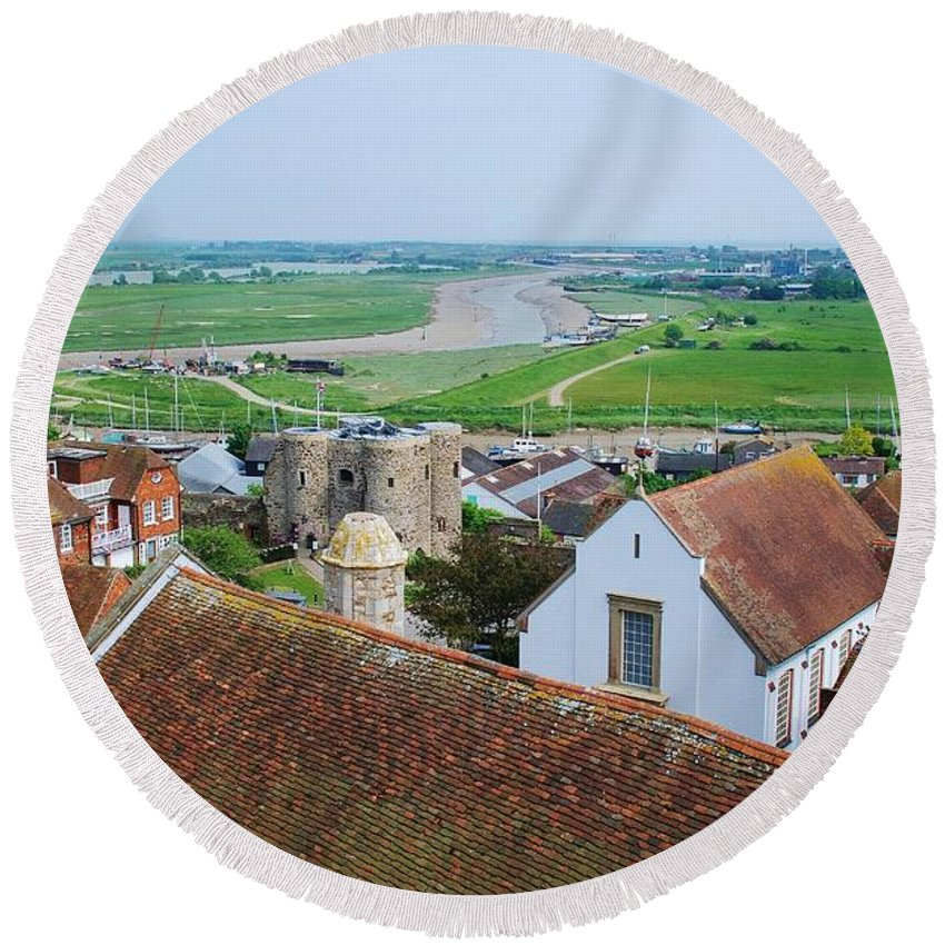 Rye Round Beach Towel featuring the photograph Rye Roofs by David Fowler