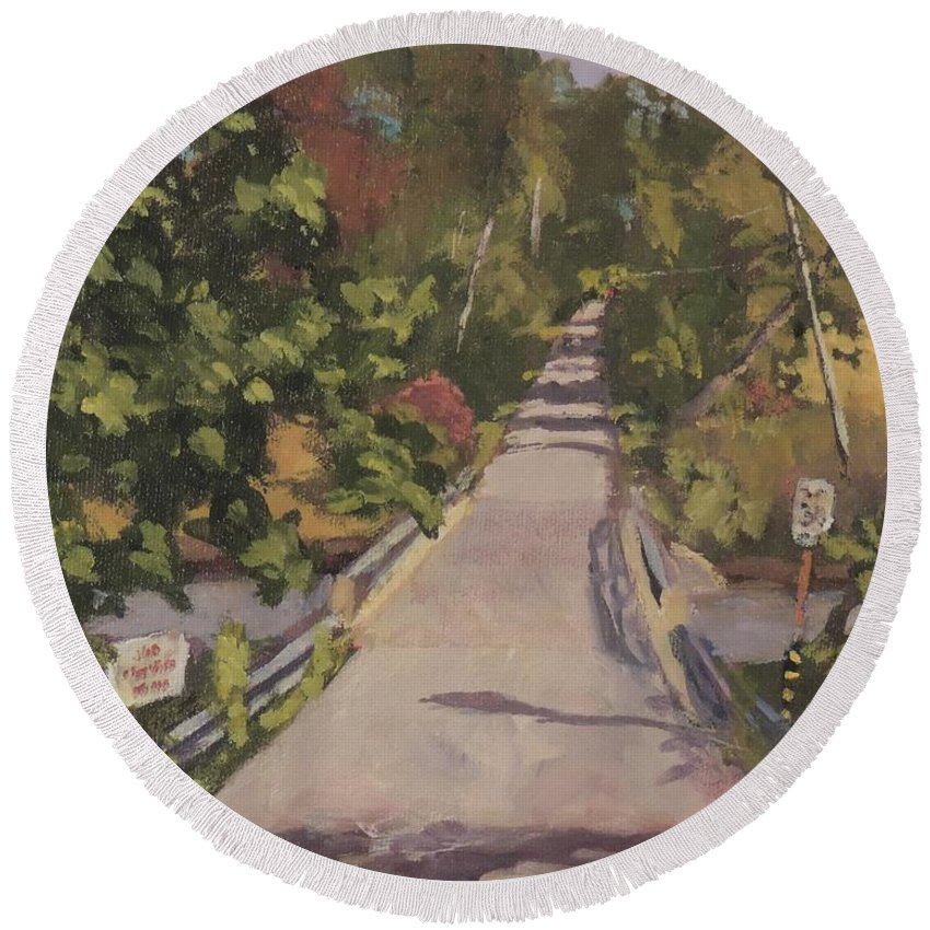 Art Round Beach Towel featuring the painting S. Dyer Neck Rd. - Art By Bill Tomsa by Bill Tomsa