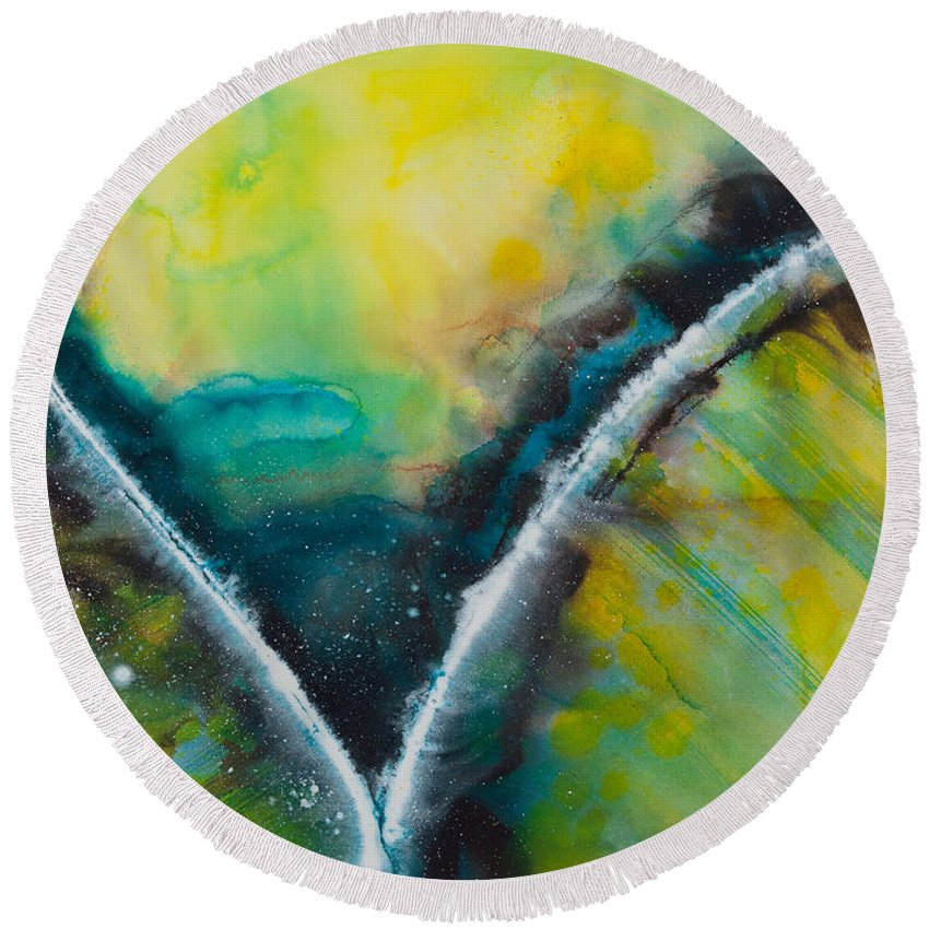 Ilisa Millermoon Round Beach Towel featuring the painting Sacred Souls No. 1040 by Ilisa Millermoon