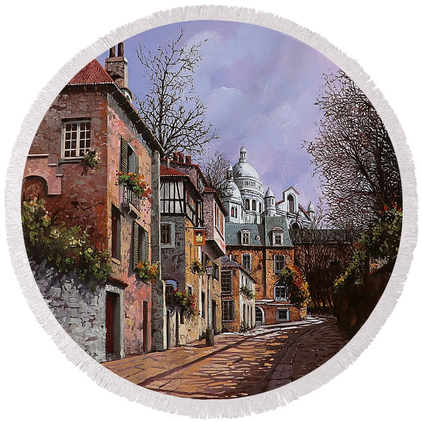 Paris Round Beach Towel featuring the painting Sacro Cuore by Guido Borelli