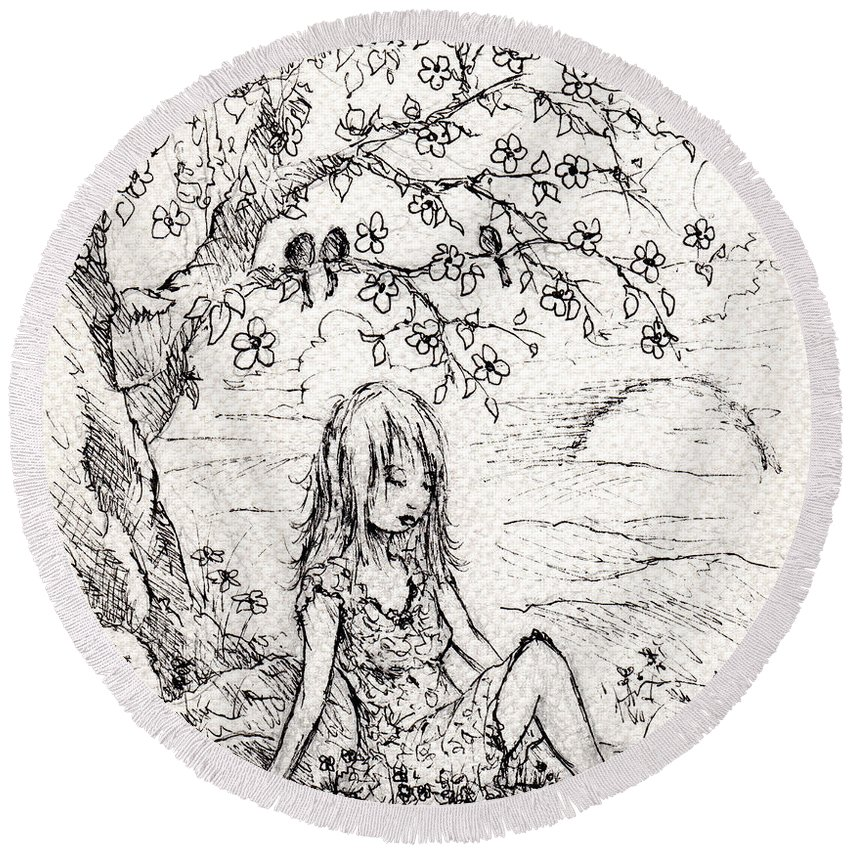 Girl Round Beach Towel featuring the drawing Sad Little Girl by Rachel Christine Nowicki