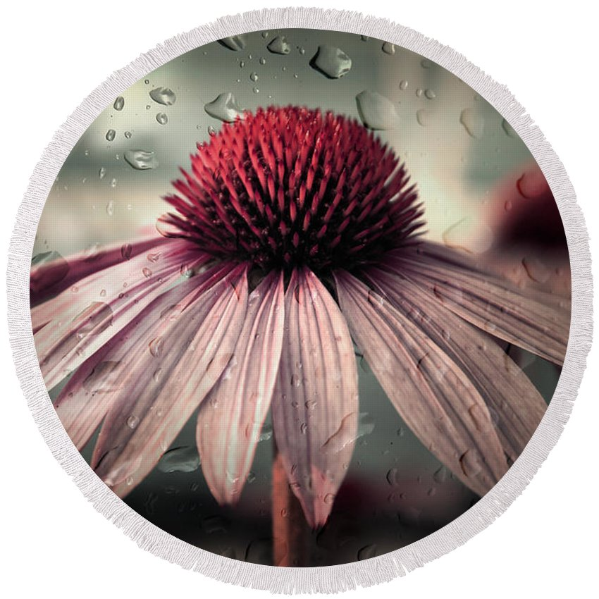 Flower Round Beach Towel featuring the photograph Sad Solitude by Aimelle