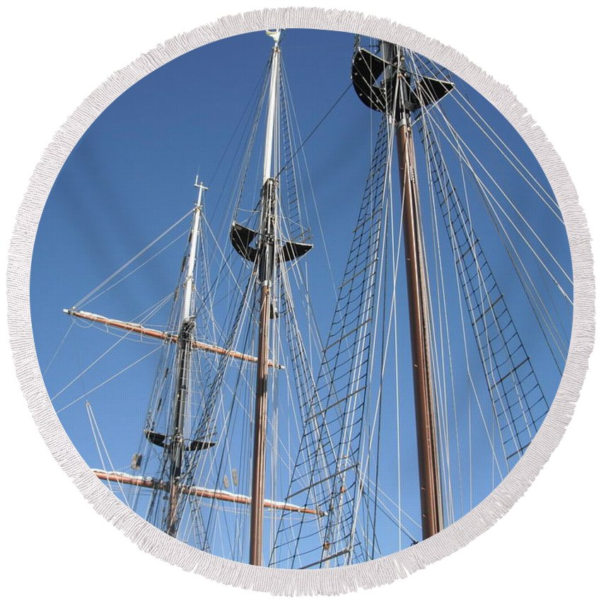 Navy Round Beach Towel featuring the photograph Sail Rigging by Caryl J Bohn