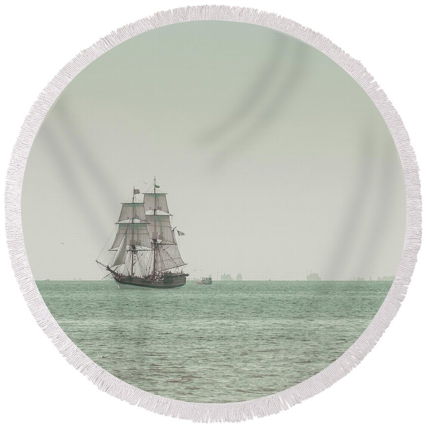 Art Round Beach Towel featuring the photograph Sail Ship 1 by Lucid Mood