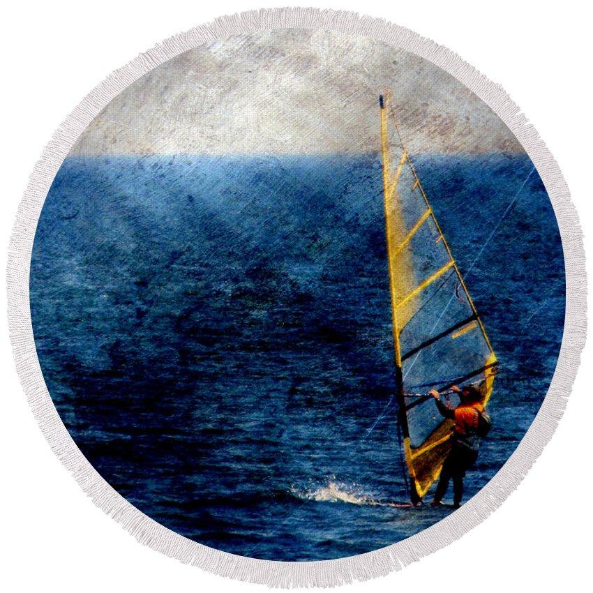 Lake Michigan Round Beach Towel featuring the digital art Sailboarding W Metal by Anita Burgermeister