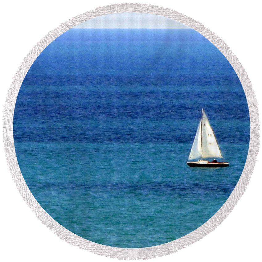 Sailboat Round Beach Towel featuring the photograph Sailboat 2 by Anita Burgermeister