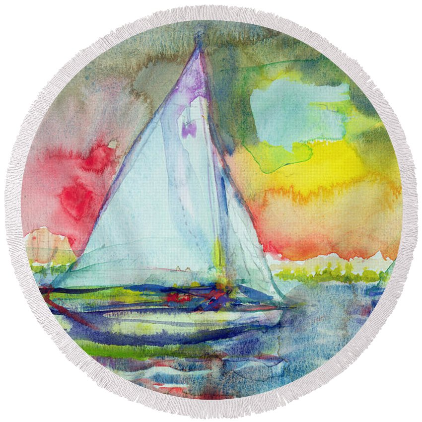 Sailing Round Beach Towel featuring the photograph Sailboat Evening Wc On Paper by Brenda Brin Booker