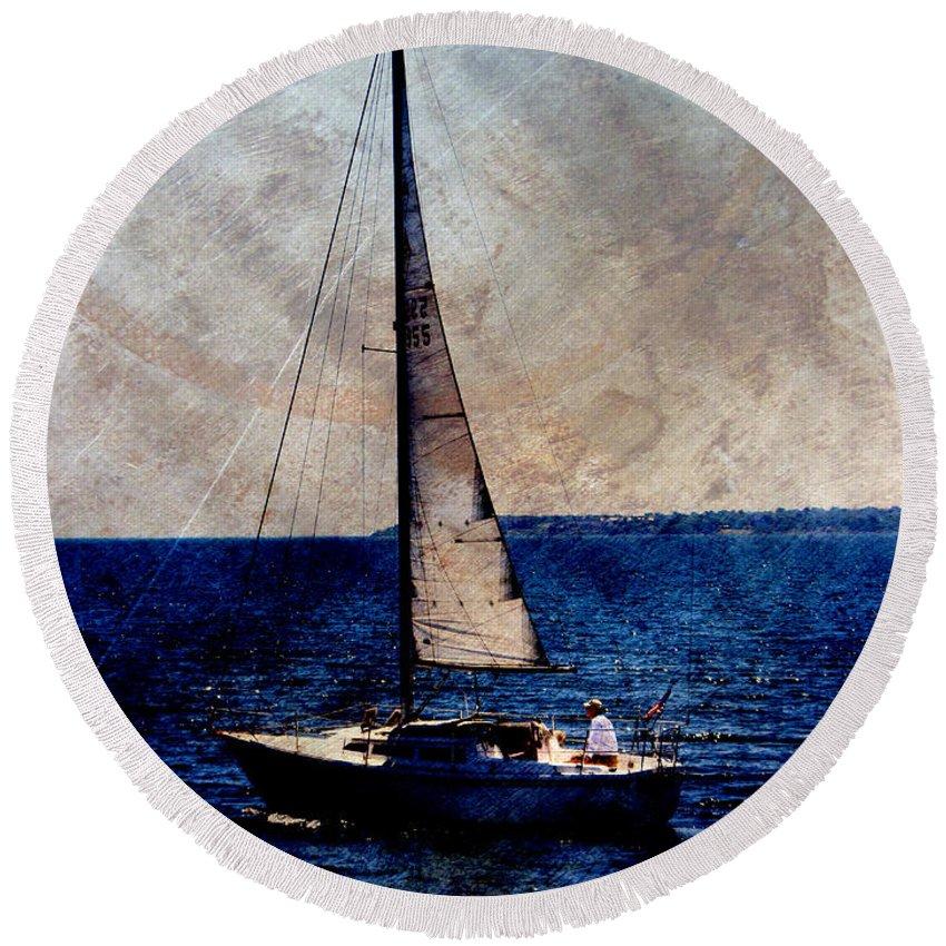 Lake Michigan Round Beach Towel featuring the digital art Sailboat Slow W Metal by Anita Burgermeister