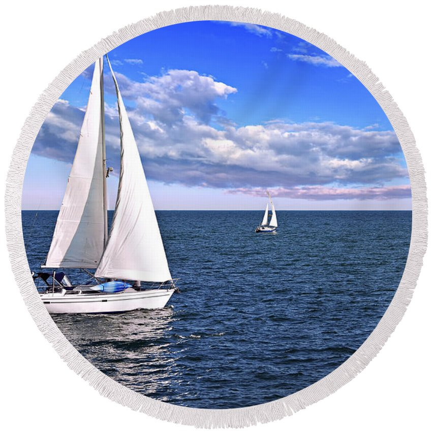 Boat Round Beach Towel featuring the photograph Sailboats At Sea by Elena Elisseeva