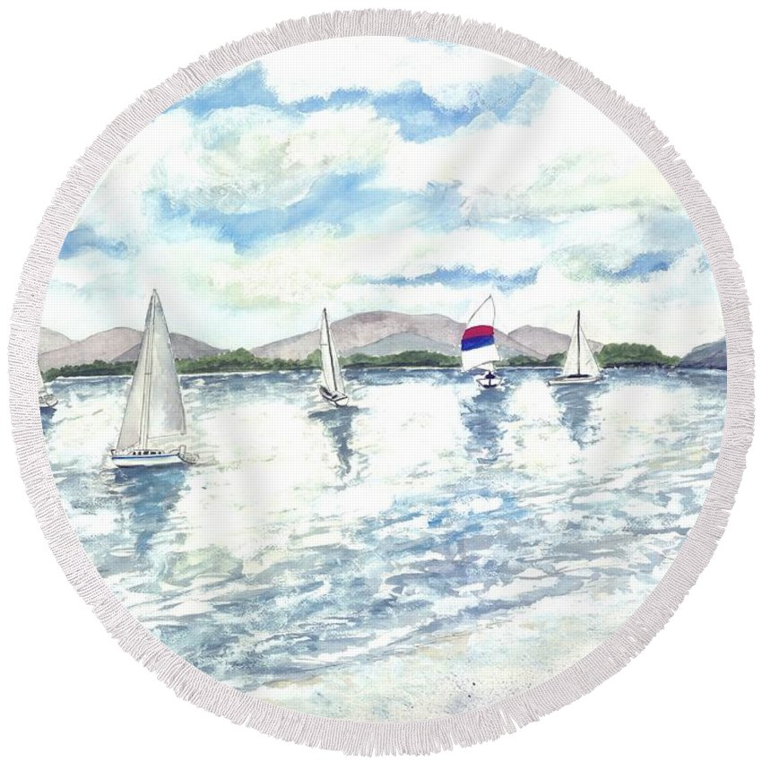 Sailboats Round Beach Towel featuring the painting Sailboats by Derek Mccrea