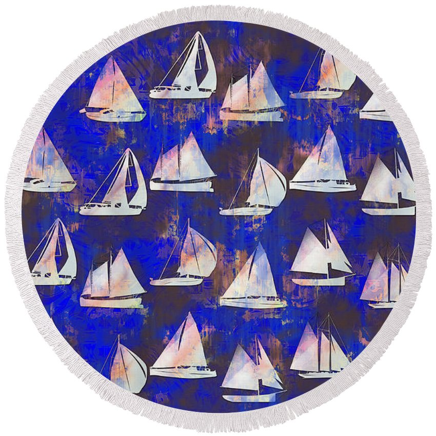 Sailboats Round Beach Towel featuring the digital art Sailboats by Vicki Podesta